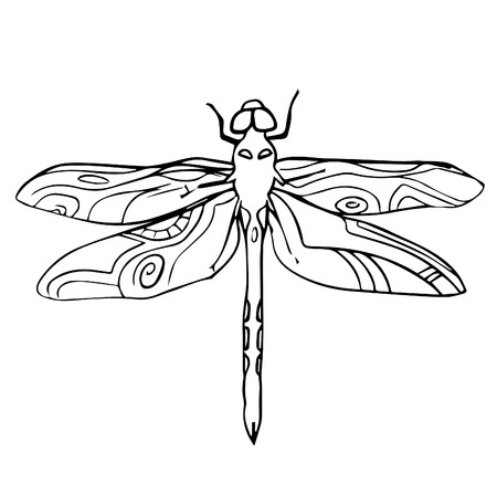 scribble: Hand drawn dragonfly insect scribble icon symbol illustration black lines