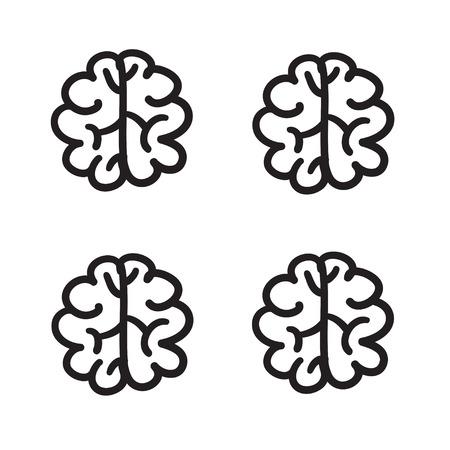 brain illustration: Hand drawn brain set vector icon symbol illustration black lines