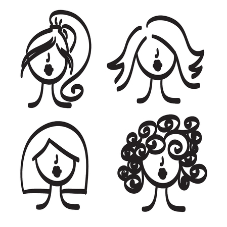 nice hair: Hand drawn woman with beautiful hair and nice lips vector set icon illustration, fashion hairdressers