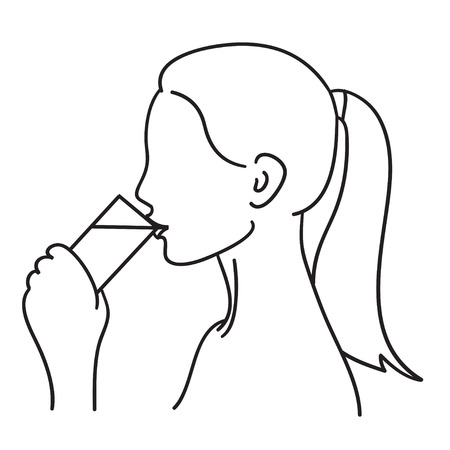 girl drinking water: Woman drinking a glass of water vector illustration black line Illustration