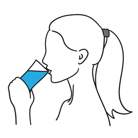 Woman drinking a glass of water vector illustration black line Vetores