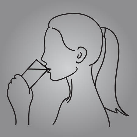 Woman drinking a glass of water vector illustration black line