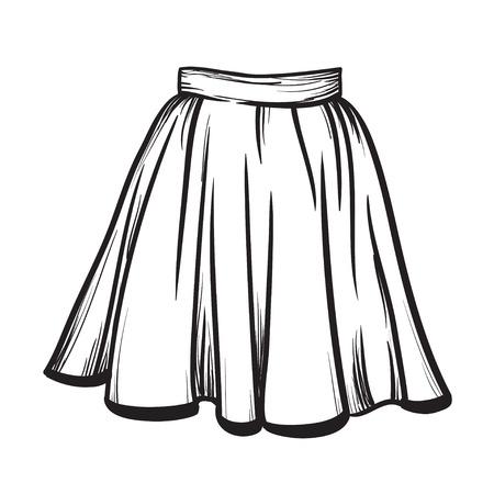 Modelo con estilo de la falda a mano ilustración vectorial dibujado líneas negras