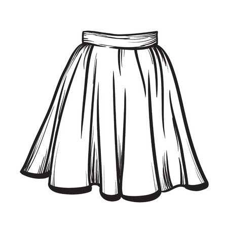 hand with pencil: Stylish skirt model hand drawn vector illustration black lines