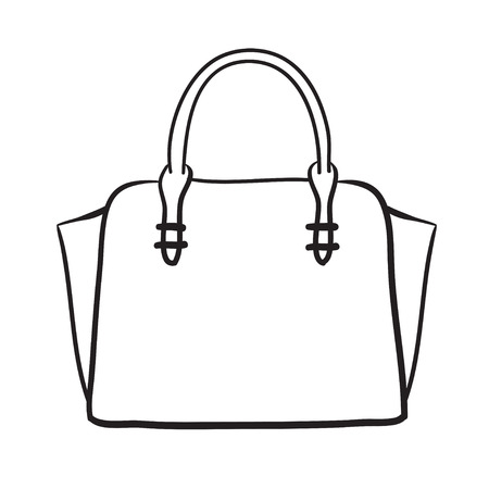 Woman bag hand drawn, female stylish purse vector fashion illustration black lines