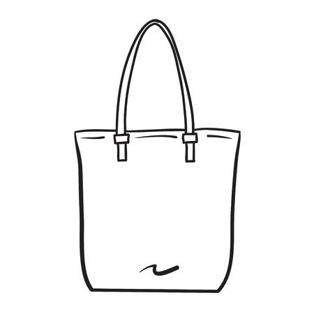 shopping icons: Woman bag hand drawn, female stylish purse vector fashion illustration black lines