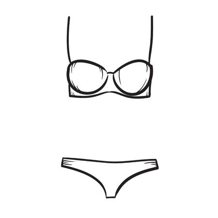 costume de bain: Femme natation costume, vecteur dessinée illustration de mode féminine à la main de maillot de bain Illustration