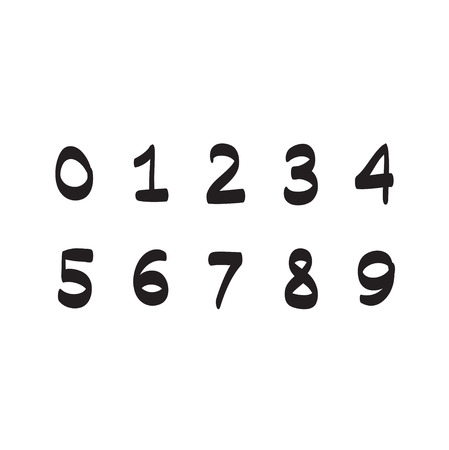 numbers icon: Numbers hand drawn vector set icon illustration Illustration