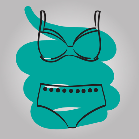 swimming suit: Woman swimming suit, female swimsuit hand drawn vector fashion illustration