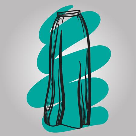 skirt: Stylish skirt model hand drawn vector illustration black lines