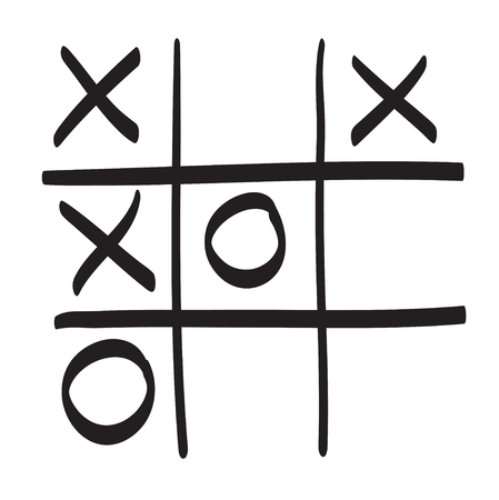 os: Hand drawn tic tac toe vector scribble icon symbol illustration black lines