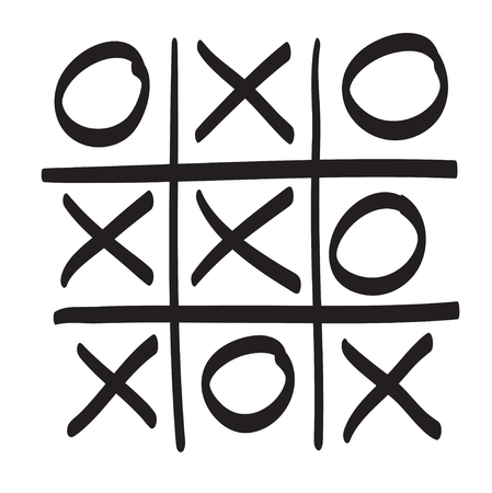 x games: Hand drawn tic tac toe vector scribble icon symbol illustration black lines