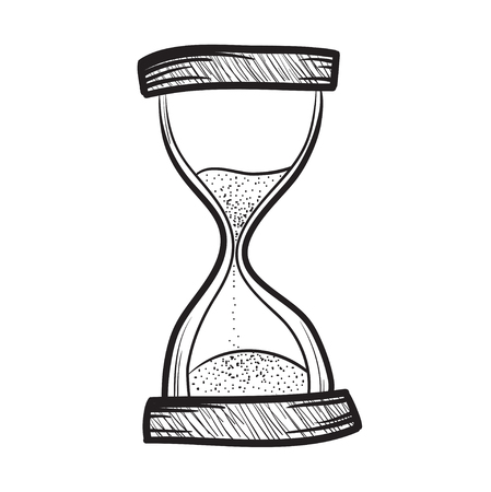 sand watch: Hourglass, sandglass, sand timer, sand watch, sand clock vector hand drawn illustration icon Illustration