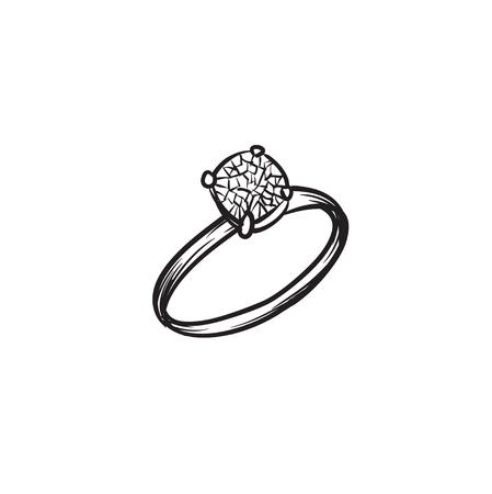 Anello di diamanti vettoriale disegnato a mano illustrazione linee nere semplici