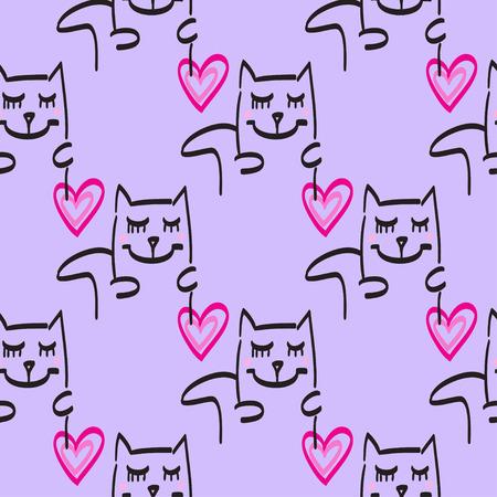 rosa negra: Cat patrón de vector dibujado a mano ilustración líneas negras rosadas