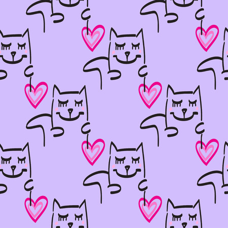 pink and black: Cat pattern vector hand drawn illustration pink black lines