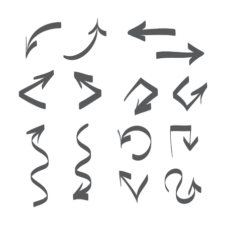 arrows vector: Hand drawn arrows vector set icon illustration, perfect for web, office, right, left, up and down Illustration