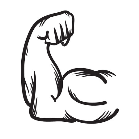 strong arm: Strong arm vector hand drawn icon. Power illustration.