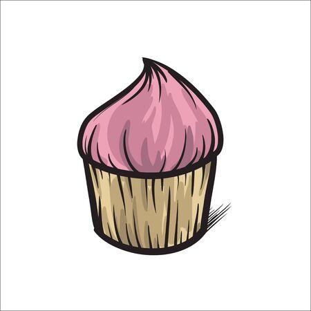 cupcake illustration: Cupcake vector hand drawn illustration colorful Illustration