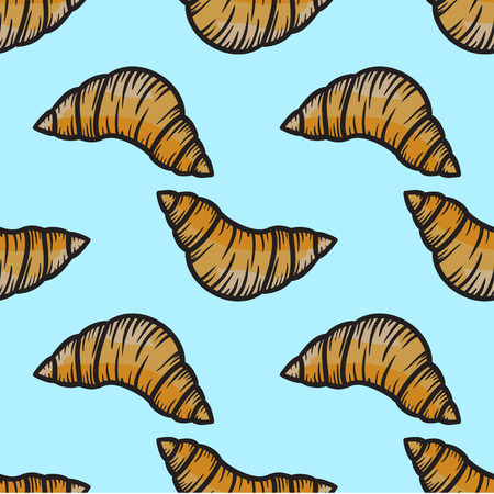 freshly baked: Croissant seamless pattern vector hand drawn illustration Illustration