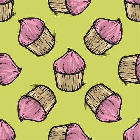 cupcake illustration: Cupcake seamless pattern vector hand drawn illustration colorful Illustration