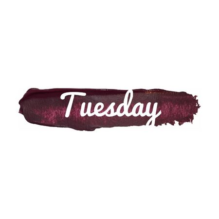 tuesday: Tuesday, day of the week. weekend vector word hand drawn illustration icon card isolated quote.