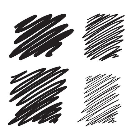 hatchwork: Blobs set vector hand drawn illustration. Collection of black paint marker. Illustration
