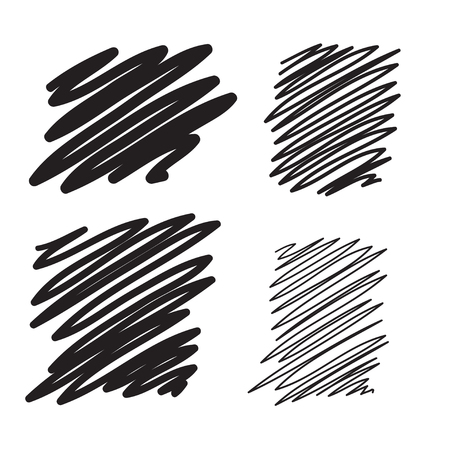 Blobs set vector hand drawn illustration. Collection of black paint marker. Illustration