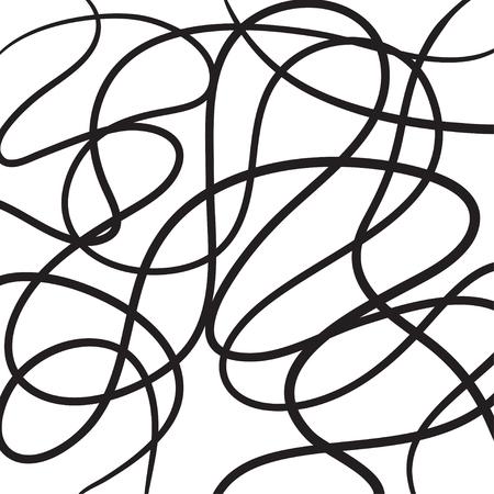 A mano linee astratte disegnato vettore icona illustrazione nero su bianco. Vettoriali