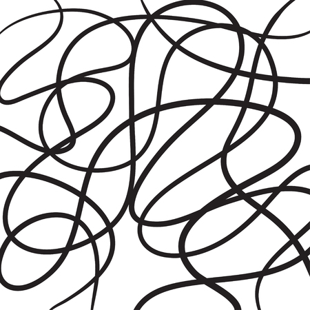 Hand drawn abstract lines vector icon illustration black on white.