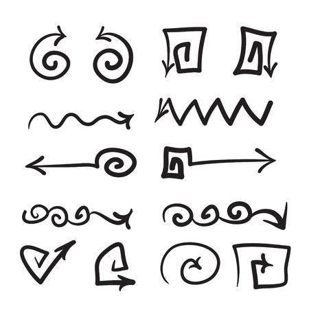 矢印ベクトル手描きアイコンを設定イラスト、web、オフィス、右のために完全、上下左  イラスト・ベクター素材
