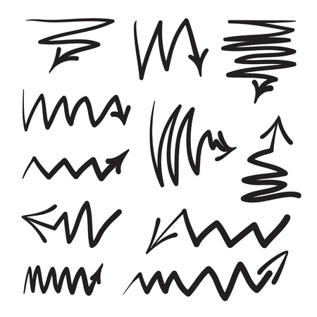 turning point: Arrows vector hand drawn set icons illustration, perfect for web, office, right, left, up and down