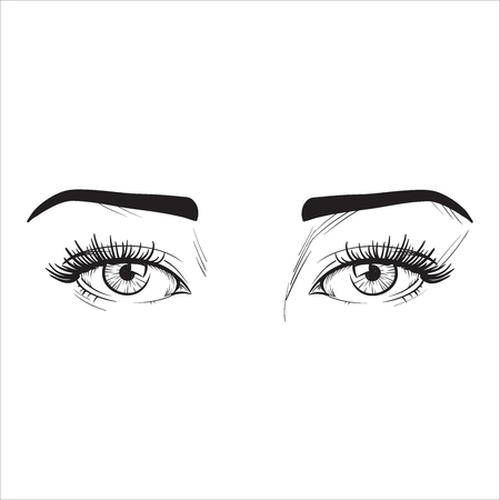 nude black woman: Woman eyes vector illustration hand drawn black lines on white isolated. Illustration