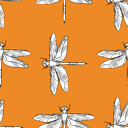 Dragonfly seamless pattern vector hand drawn illustration.