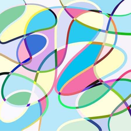 Hand drawn abstract colorful lines background vector icon illustration black on white