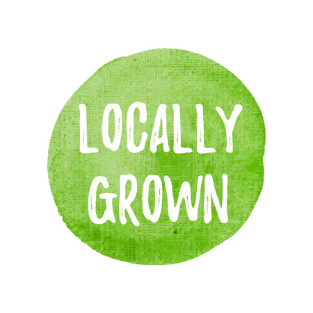 Locally Grown card, poster, logo, written on watercolor green background illustration.