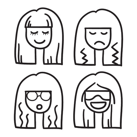 nice hair: Woman face vector icon hand drawn doodle illustration black lines, nice hair girl eyes closed.