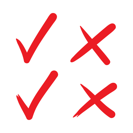 Check mark vector hand drawn icon, wrong mark, sketch check mark, red on white.