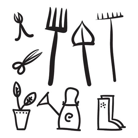 weeder: Garden tools set, vector icons illustration Illustration