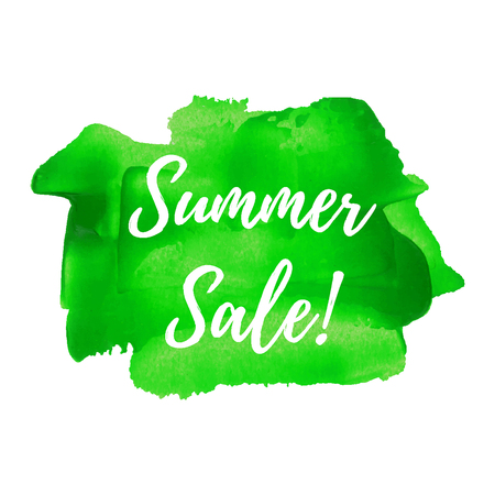 Summer Sale text written on green painted background