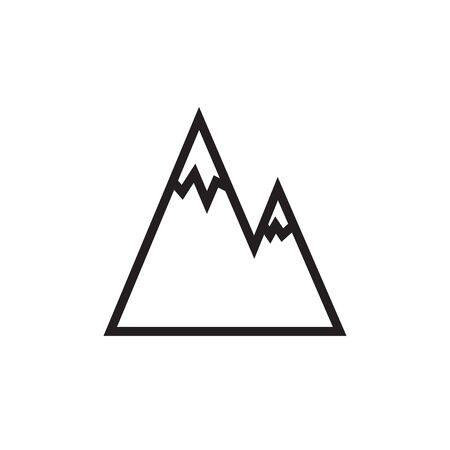 mountain silhouette: Mountains vector line illustration, icon, symbol, poster. Mountains drawing. Black and white. Illustration