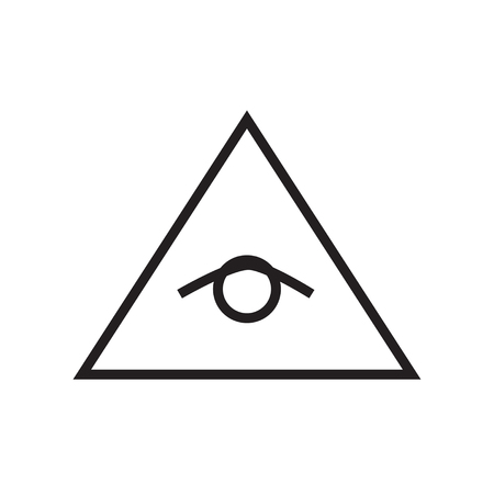 delta: All seeing eye pyramid vector line illustration, icon, symbol, poster. Freemason and spiritual delta. Illustration
