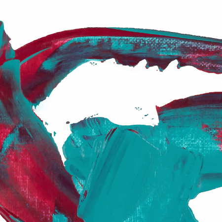 sea green: Vector abstract background brush stroke hand painted with paint sea green, red and violet