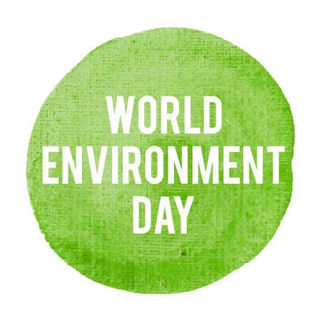 World Environment Day Holiday, celebration, card, poster, lettering, words, text written on painted background vector illustration. Illustration