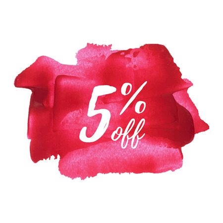5% OFF card, poster, lettering, words, text written on red pink painted background vector illustration