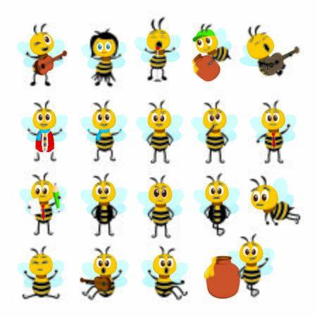 bee drawing set Ilustrace