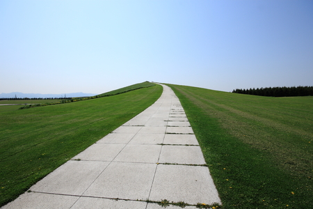 long way: The white long way which spreads out to the mountaintop