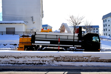 Snow removal vehicle is out