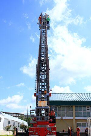 Ladder truck of emergency drills