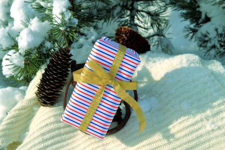 Christmas and New Year background with gift boxes.